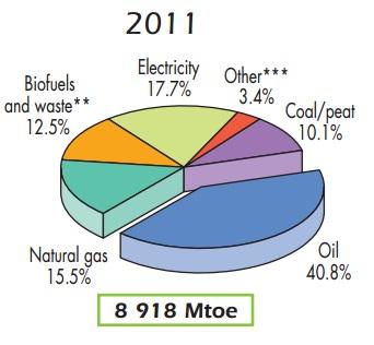 Global final energy 2011